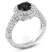 4.37ct Tw Black Round Natural Certified Diamonds 14k Gold Halo Side-stone Ring