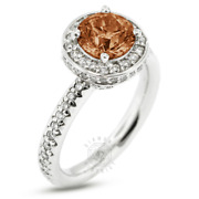 1.92 Ct Red Vs1 Round Earth Mined Certified Diamonds 14k Halo Side-stone Ring