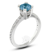 1.32 Ct Blue Si3 Round Natural Certified Diamonds 18k Classic Sidestone Ring