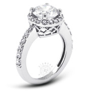 1.26ct Tw G Vs2 Round Natural Certified Diamonds 18k Gold Halo Sidestone Ring