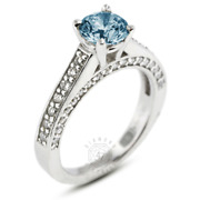 1.41ct Tw Blue Si3 Round Natural Certified Diamonds Plat Classic Side-stone Ring