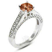 1.56ct Tw Red Si1 Round Natural Certified Diamonds Plat Classic Side-stone Ring