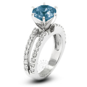 1.56ct Tw Blue Si1 Round Cut Natural Certified Diamonds Plat Side-stone Ring