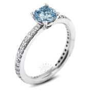 1.17 Ct Blue Si1 Round Natural Certified Diamonds Plat Classic Sidestone Ring