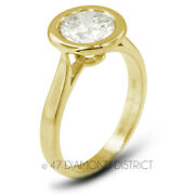 1.03ct F Vs2 Round Natural Diamond 18k Gold Halo Solitaire Engagement Ring