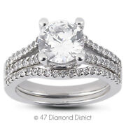 1.30 Ct E-si1 Round Natural Diamonds 14k Vintage Style Ring With Wedding Band