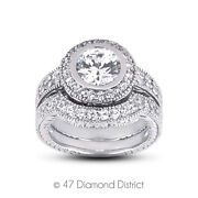1.36 Ct H-si1 Round Natural Certified Diamonds 14k Halo Ring With Matching Band