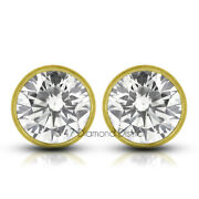 0.74ct Tw E Si1 Round Cut Natural Certified Diamonds 14k Gold Classic Earrings