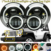 For 1997-2018 Jeep Wrangler Jk Lj Tj Cj Halo 7led Headlight+4fog Driving Lamps