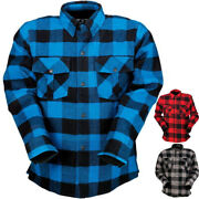 Z1r The Duke - Mens Long Sleeve Cotton Flannel Street Motorcycle Riding Shirts