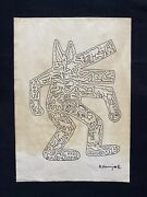 Keith Haring Hand Drawn And Signed Dancing K. Haring Figures ... Ink On Paper