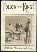 Rare Ww1 British Pamphlet Follow The King Meat Ration Card Royal Family 1917