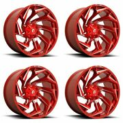 4x Fuel 20x9 D754 Reaction Wheels Candy Red Milled 8x170 Pcd +1mm Offset 5.04bs