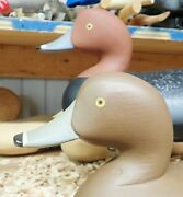 1992 Pair Of Redhead Decoys By Charlie Bryan Signed And Dated