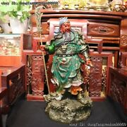 China Copper Painted Stand Dragon Guan Gong Guanyu Warrior God Hold Knife Statue