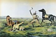 Antique Currier And Ives Hand Colored Lithograph The Last Shot Native American