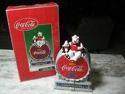 Coca Cola Polar Bear And Penguin Lunch With Us Cookie Jar From 2001 - Nib