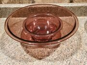 Pyrex 326 4l And 1l Mixing Bowls Purple Glass Nesting 11 X 4.5 Y2