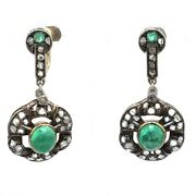 Antique 14k Two-tone Gold Sterling Silver Emerald And Diamond Dangle Earrings