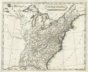 United States Of America By Arrowsmith And Lewis. 17 States 1812 Old Antique Map