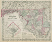 Colton's Delaware And Maryland. District Of Columbia. Us State Map 1869