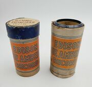 2 Vtg Edison Ediphone Blue Amberol Phonograph Cylinder Records And039s 4054 And 4142