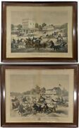 Two Lithographed Racing Scenes Harlem Lane By Thomas Kelly American 1795andndash1841