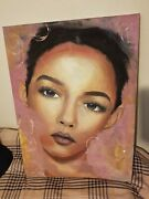 Beautiful African American Woman With Blue/grey Eyes Painting Signed By Artist
