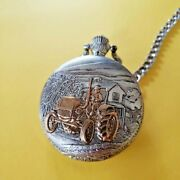 Vintage 2 Tone Milan Pocket Watch With New Battery And Old Tractor On Front