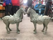 China Dynasty Folk Old Bronze Silver Plated Lucky Happy Tang Horse Statue Pair