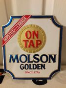 Vintage Molson Golden Canada Beer On Tap Since 1776 Advertising Metal Tin Sign