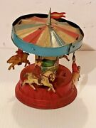 Rare Vintage Gunthermann Tin Wind Up Toy Carousel Germany Wind Up 1900's Works