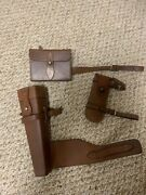 Side Saddle Fox Hunt Antique Leather Sandwich Case Canteen Fence Pliers England