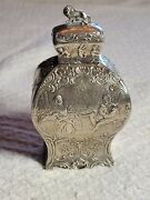 Antique German Sterling Silver Tea Caddy Canister Lion Lid And Figural Design