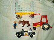 Vintage Fisher-price Tractor And Farm Trailer With Police Car And Action Figures