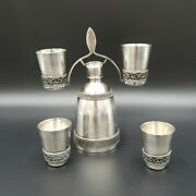 Russian Silverplate Small Decanter And 4 Shot Glasses 910mmet Vk0 Excellent