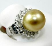 Natural South Sea Pearl And Diamond Halo Solitaire Ring 14k White Gold 13mm 1.58ct
