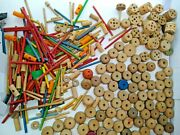 Tinker Toys Wood With A Rare Red Ball Connector Huge Lot Vintage