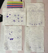 Vintage Lisa Frank Casey Kittens Flamingo Lamb Easter Coloring Sheets And Markers