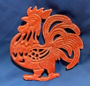 Cast Iron Rustic Country Red Rooster Kitchen Trivet 7 1/2 Tall 0184-9011