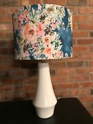 Table Lamp White Ceramic With Blue Floral Drum Shade 22.5h 13 Shade Diameter
