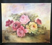Handpainted Cabbage Pink Yellow Red Roses Oil 16x20 Canvas Antique Shabby Style