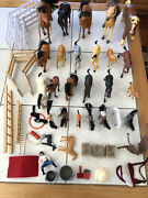 Lot Of 26 Toy Horses And Accessories Fuzzy Flocked Plastic Prancing Corral Fence