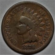 1876 Indian Head Cent Us 1c Penny Coin  Flat Rate Shipping Lot 213