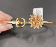 Authentic 18kt Rose Gold Flora Bangle, Model Yba434441001, Box And Papers