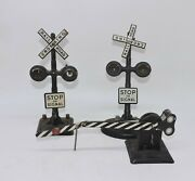 Antique Metal Model Train Crossings Lot Of 3 Black And White Untested   B9