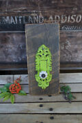 """Cabinet Door Knob Hanger Shabby Chic Green Metal Back Plate 12"""" Tall By 5½"""" Wide"""