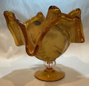 Handcrafted Murano Bowl Amber Gold White Cristal 8 Tall 9 Wide Made In Italy.