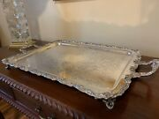 Silver On Copper Butler / Serving Tray -footed - Sheridan Silver Co. Vintage
