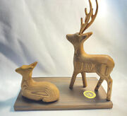 Japanese Folk Art Small Woodgrain Carvings Deer Pair With Stand And Box 60s 70s